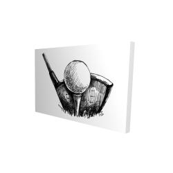Canvas 24 x 36 - 3D - Golf ball black and white