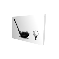 Canvas 24 x 36 - 3D - Illustration of a golf club bw