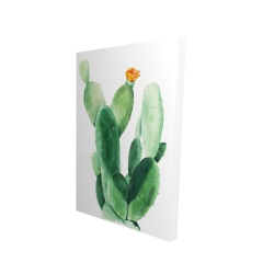 Watercolor paddle cactus with flower
