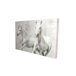 Canvas 24 x 36 - 3D - Two white horse running