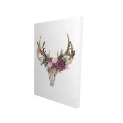 Canvas 24 x 36 - 3D - Deer skull with flowers