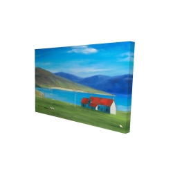 Canvas 24 x 36 - 3D - Scottish highlands with a little red roof house