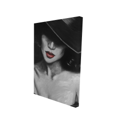 Canvas 24 x 36 - 3D - Mysterious red lips lady