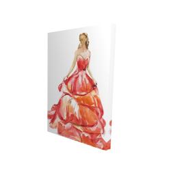 Canvas 24 x 36 - 3D - Beautiful red prom dress