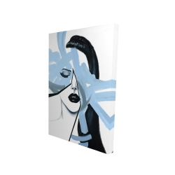 Canvas 24 x 36 - 3D - Abstract blue woman portrait