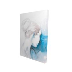 Canvas 24 x 36 - 3D - Watercolor abstract girl with hair bun