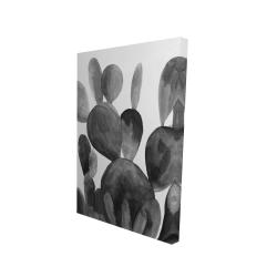 Canvas 24 x 36 - 3D - Grayscale paddle cactus plant