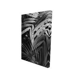 Canvas 24 x 36 - 3D - Monochrome tropicals leaves