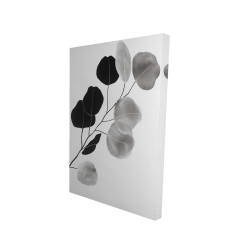 Canvas 24 x 36 - 3D - Grayscale branch with round shape leaves