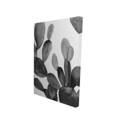 Canvas 24 x 36 - 3D - Grayscale cactus