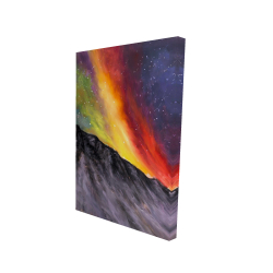 Canvas 24 x 36 - 3D - Aurora borealis in the mountain
