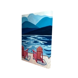 Canvas 24 x 36 - 3D - Lake, dock, mountains & chairs