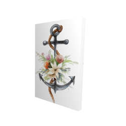 Canvas 24 x 36 - 3D - Anchor with flowers