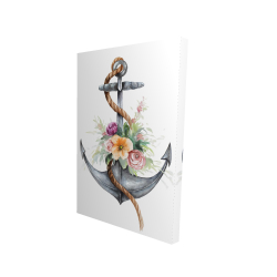 Canvas 24 x 36 - 3D - Boat anchor with flowers