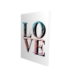 Toile 24 x 36 - 3D - Amour coloré