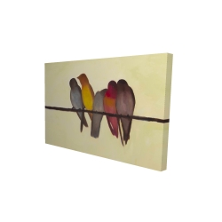 Canvas 24 x 36 - 3D - Five birds on a branch