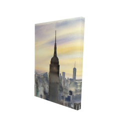Canvas 24 x 36 - 3D - Sunset over new york city