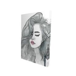 Canvas 24 x 36 - 3D - Beautiful female hair