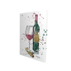 Canvas 24 x 36 - 3D - Bottle of red wine