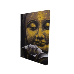 Canvas 24 x 36 - 3D - The eternal smile of buddha and his lotus