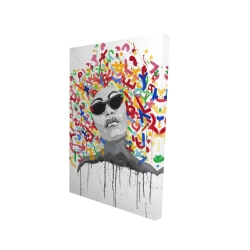 Canvas 24 x 36 - 3D - Woman street art pop