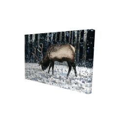 Canvas 24 x 36 - 3D - Caribou in the winter forest