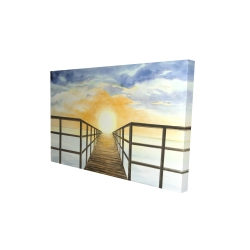 Canvas 24 x 36 - 3D - Sunset in the sea
