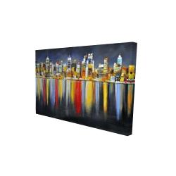 Toile 24 x 36 - 3D - Réflexion colorée d'un paysage urbain de nuit