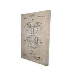 Canvas 24 x 36 - 3D - Football protective apparel blueprint beige