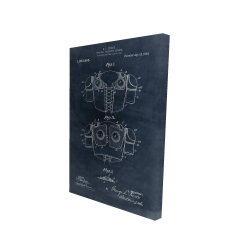 Canvas 24 x 36 - 3D - Football protective apparel blueprint in blue