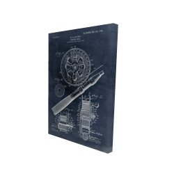Canvas 24 x 36 - 3D - Blueprint of a fishing reel