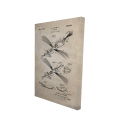 Canvas 24 x 36 - 3D - Beige blueprint of a fish lure