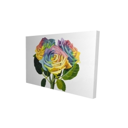 Canvas 24 x 36 - 3D - Bouquet of rainbow roses