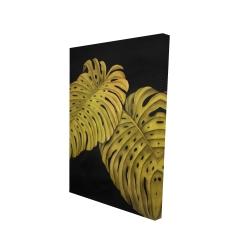 Toile 24 x 36 - 3D - Feuille monstera doré