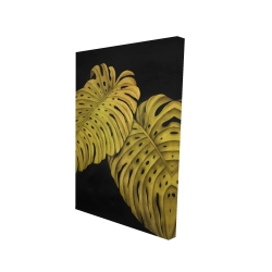 Canvas 24 x 36 - 3D - Gold monstera