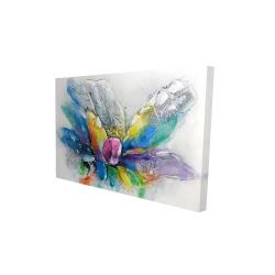 Toile 24 x 36 - 3D - Fleur abstraite avec papier journal