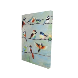 Canvas 24 x 36 - 3D - Small abstract colorful birds