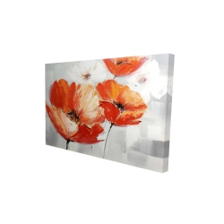 Canvas 24 x 36 - 3D - Red wild flowers in the wind