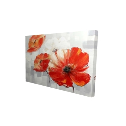 Canvas 24 x 36 - 3D - Abstract red wild flowers