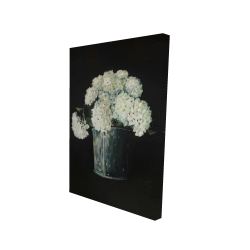 Canvas 24 x 36 - 3D - White hydrangea flowers
