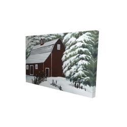Canvas 24 x 36 - 3D - Red barn in snow