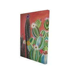 Canvas 24 x 36 - 3D - Rainbow cactus