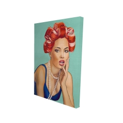Canvas 24 x 36 - 3D - Pin up girl with curlers