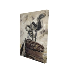 Canvas 24 x 36 - 3D - Vintage sticks and golf bag