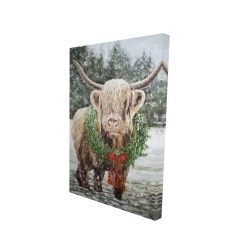 Canvas 24 x 36 - 3D - Highland christmas cow
