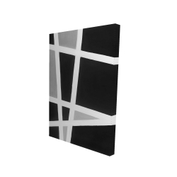 Canvas 24 x 36 - 3D - Black and white abstract lines