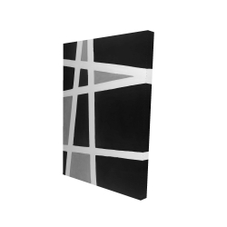 Canvas 24 x 36 - 3D - Black and white abstract shapes