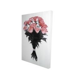 Canvas 24 x 36 - 3D - Bouquet of coral roses