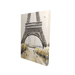 Canvas 24 x 36 - 3D - Eiffel tower with flying birds