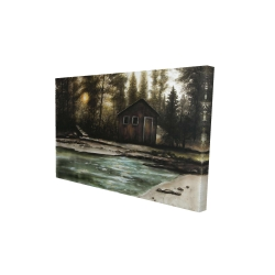 Canvas 24 x 36 - 3D - Cabin in the forest